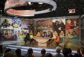 "Broadcasting legend Barbara Walters says goodbye to daily television with her final co-host appearance on THE VIEW,on May 16, 2014.  A surprise appearance from Oprah Winfrey leads to one historic, monumental television event when Winfrey does a landmark roll call of introducing 25 incredible female journalists who were influenced by Barbara Walters. Plus the day earlier, for the first time in television history, all 11 co-hosts of ABC's ""The View,"" present and past, shared the same stage, live. (Photo: ABC/ Ida Mae Astute)"