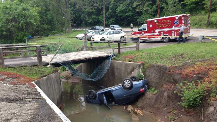 img-car overturned in creek