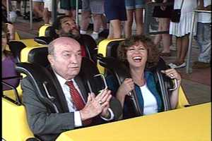 Among the first riders to jump on board the Steel Phantom were WTAE news anchor Paul Long and consumer reporter Yvonne Zanos. (Here's Paul saying a prayer as they start to take off!)