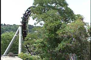 The Steel Phantom included four inversions along the track. The drop from the second hill was 225 feet.