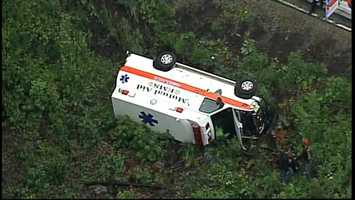 An ambulance overturned Friday afternoon on Route 130 in Mt. Pleasant Township.