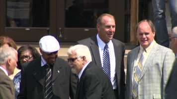 Former Steelers wide receiver Louis Lipps (white hat), former Steelers tight end and offensive coordinator Mike Mularkey and current Steelers general manager Kevin Colbert (top right)