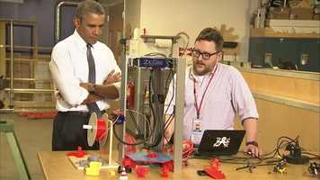 President Barack Obama visits TechShop Pittsburgh, a variation on a tool lending library that provides high-end instruments to hobbyists, tinkerers and start-up businesses to help them realize their innovations.