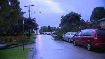 A strong thunderstorm knocked down a tree on White Oak Drive in Penn Hills.