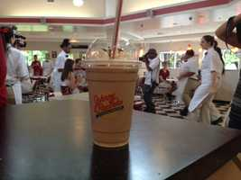 Milkshakes are also popular on the Johnny Rockets menu.