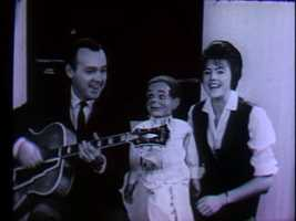 """Tommy"" sits between Joe Negri and Sandy Mason during an episode of ""Popeye and Friends"" on WTAE."