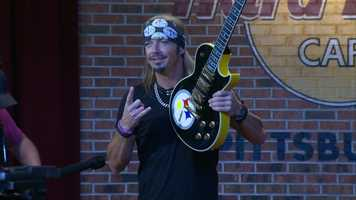 Butler native and Poison frontman Bret Michaels returned to Pittsburgh on Wednesday to donate his Steelers-themed guitar to the Hard Rock Cafe.