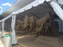 "The ""Sandsational Exhibit"" ... 150 tons of sand molded into a work of art by sculptors."