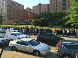 The protest was held outside UPMC's Shadyside Medical Building on Centre Avenue.