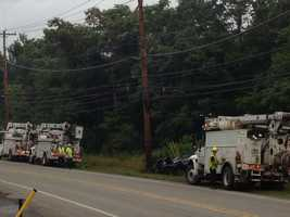 Power crews made repairs after the crash in Kennedy Township.