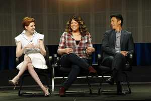 "TCA SUMMER PRESS TOUR 2014 - ""Selfie"" Session - The cast and producers of ABC's ""Selfie"" addressed the press at Disney ¦ ABC Television Group's Summer Press Tour 2014. (ABC/Rick Rowell) KAREN GILLAN, EMILY KAPNEK (CREATOR/EXECUTIVE PRODUCER), JOHN CHO"