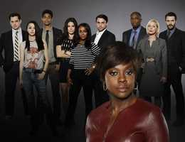 """ABC's """"How to Get Away with Murder"""" stars Viola Davis as Professor Annalise Keating, Billy Brown as Nate, Alfred Enoch as Wes, Jack Falahee as Connor, Katie Findlay as Rebecca, Aja Naomi King as Michaela, Matt McGorry as Asher, Karla Souza as Laurel, Charlie Weber as Frank and Liza Weil as Bonnie. BACKGROUND: MATT MCGORRY, KATIE FINDLAY, ALFRED ENOCH, KARLA SOUZA, AJA NAOMI KING, JACK FALAHEE, BILLY BROWN, LIZA WEIL, CHARLIE WEBER&#x3B; FOREGROUND: VIOLA DAVIS --- (ABC/Craig Sjodin"""