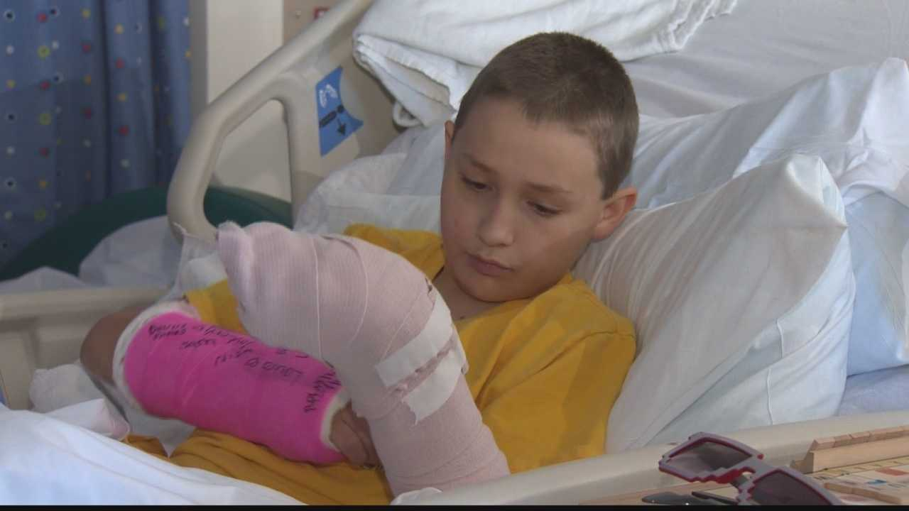 Boy, 13, talks about 40-foot fall from steel beam
