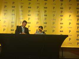 Matthew, 12, signed a one-day contract with the Pirates. Team president Frank Coonelly was there to make the signing official.