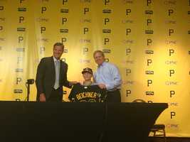 Huntington and Connelly presented Matthew with his very own customized Pirates jersey.