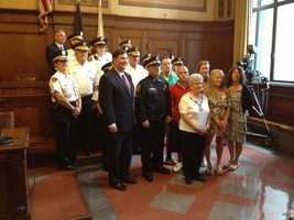 Mayor Bill Peduto, Public Safety Director Stephen Bucar, Fire Chief Darryl Jones and Acting Police Chief Regina McDonald attended a Tuesday ceremony celebrating the promotion of three police officers and two firefighters in the city of Pittsburgh.