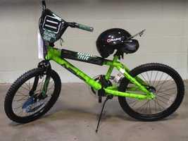 Green and Black Bike and Helmet, courtesy of Walmart