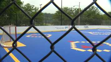 The Pittsburgh Penguins Foundation helped fund construction of a new dek hockey rink at Lewis Parklet in Hazelwood.