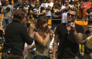 Country musical group, Gloriana, performing the National Anthem at the Pittsburgh Steelers vs Cleveland Browns game.