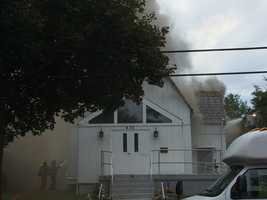 A fire damaged Saint Paul Baptist Church in Oakmont.