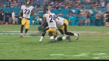 Taylor made a break on a pass play and was struck on his right arm by teammate Lawrence Timmons, who was converging to make the tackle.