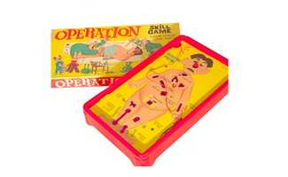 "OperationAn industrial design student created the Operation Skill Game as a class project in 1962 and -- much to his delight -- it went on to be one of the most successful dexterity games of all times. The game asks players to remove small, plastic body parts from the tight recesses of Cavity Sam, the ""patient"" on the operating table. A nerve-wracking buzzer jolts those without steady hands."