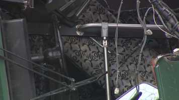 Here you can see a row of seats that was pushed up toward the steering wheel when the bus crashed.