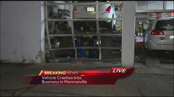 The driver hit the glass doors at Monro Muffler Brake and Service on Business Route 22 in Monroeville, as well as a vehicle that was parked outside Thursday morning.