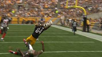 Antonio Brown reaches for the ball and catches his second touchdown of the day.