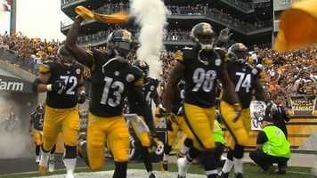 Terrible Towels are waving at Heinz Field when the Steelers rush out of the tunnel from the locker room at the start of the game.