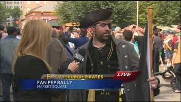 This fan really got into the spirit at the Pittsburgh Pirates wild-card rally in Market Square.