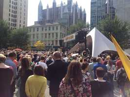 A rally was held for Pittsburgh Pirates fans in Market Square one day before the National League Wild Card Game.