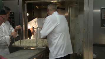 The chefs loaded the pierogie into this baking oven.
