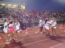 Plum cheerleaders and crowd