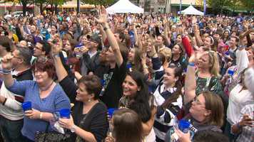 Pittsburghers gathered in Market Square to break a cookie-dunking world record.