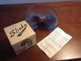 SlinkyDate: 1943The slinky was invented by Richard T. James who was a naval engineer working with tension springs when he dropped a spring and saw how it kept moving after it hit the ground.(Source: inventors.about.com)