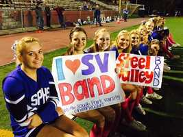 The South Park cheerleaders support the Steel Valley band.