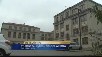 Pittsburgh Public Schools spokesperson Ebony Pugh confirms to Pittsburgh's Action News 4 that a 16 year old student did fall out of a window in the boys bathroom on the fourth floor of Allderdice High School this morning.