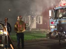 Fire crews battled a home fire in Unity Township of Westmoreland County early Friday morning that has left two people injured.