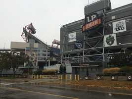 """Somebody was here first!"" Andrew Stockey sent this back Sunday morning from LP Field in Nashville"