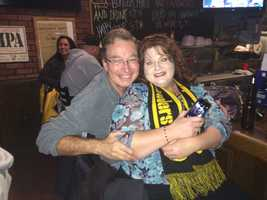 Surprise anniversary trip given to her husband! Hanging at Steelers' bar in Nashville-Piranha's owned by a group of high school buddies from Oakmont/Verona