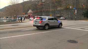 Police closed the intersection of East Carson Street and the Smithfield Street Bridge while they investigsted the crash.