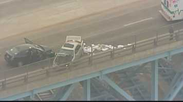 Sky 4 over the scene where emergency crews responded to a accident with injuries on the Rankin Bridge that resulted in traffic delays.