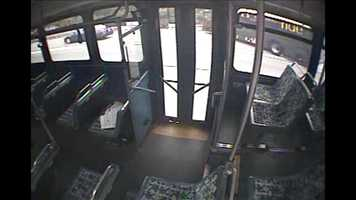 This surveillance image shows Maier's bus leaving its lane and going off the interstate to the right.
