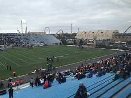 The PIAA high school football championship games are played in Hershey, Pa.