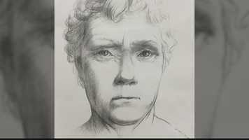 A sketch artists's rendering of a woman's embalmed head, found in the woods in Economy, Beaver County.