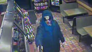 State police say this person robbed a Subway restaurant on Route 30 in Hempfield Township while carrying a gun and wearing a clown mask.