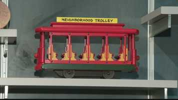 "The neighborhood trolley from ""Mister Rogers' Neighborhood."""