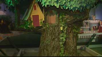 "The treehouse where Henrietta Pussycat lived on ""Mister Rogers' Neighborhood."""