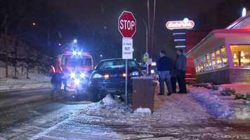 A car went off Banksville Road near Crane Avenue.